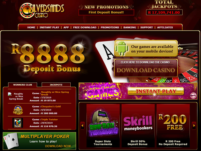 silversands casino homepage